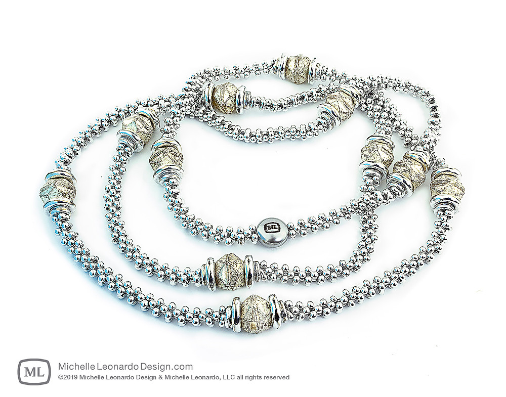 Luna Lux Necklace—Color: Frost Abalone by Michelle Leonardo Design