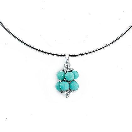 Jewelry, Necklace, Pendant, Silver, Turquoise, Sterling Silver, ML, Michelle Leonardo Design, Hanalei Pendant