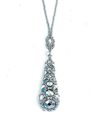 Jewelry, Necklace, Pendant, Diamond, Sterling Silver, Swarovski, ML, Michelle Leonardo Design, Princess Drop Pendant