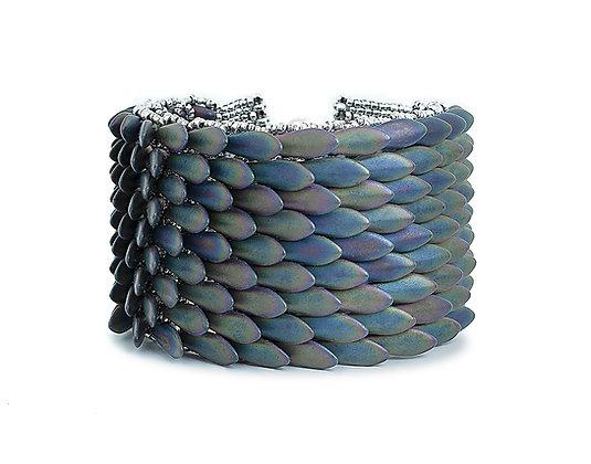 Jewelry, Bracelet, Cuff, Gift, Dark Iris, Sterling Silver, ML, Dragon, GOT, ML, Michelle Leonardo Design, Dragon Scale Cuff