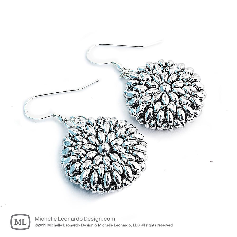 Dahlia Earrings—Color: Silver by Michelle Leonardo Design