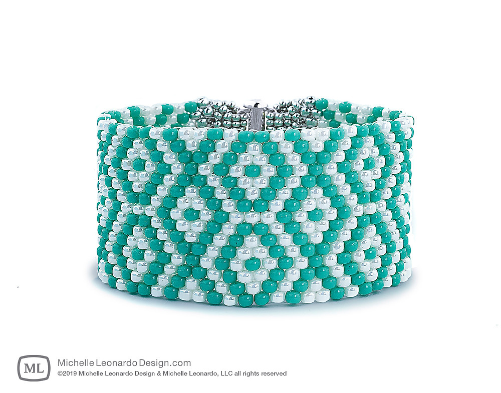 God's Eye Graphic Cuff—Color: Turquoise by Michelle Leonardo Design