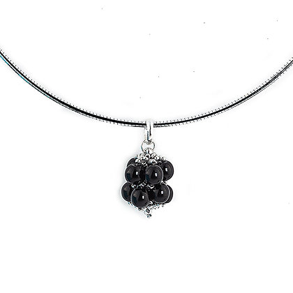 Jewelry, Necklace, Pendant, Silver, Black, Onyx, Sterling Silver, ML, Michelle Leonardo Design, Hanalei Pendant