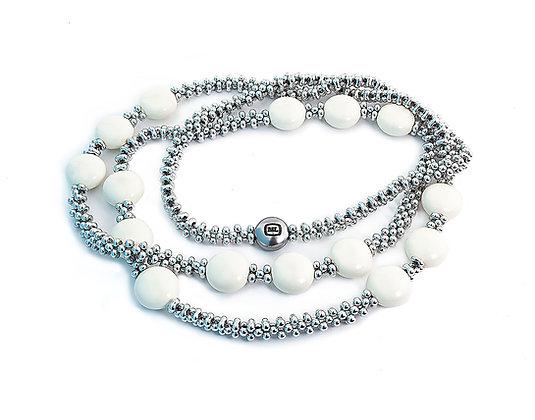 Jewelry, Necklace, Silver, Ivory, White, Sterling Silver, Swarovski, ML, Michelle Leonardo Design, Trio Necklace
