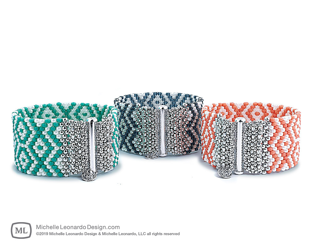 God's Eye Graphic Cuff—Colors: Turquoise, Indigo & Living Coral