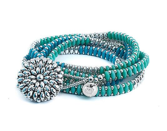 Jewelry, Bracelet, Wrap Bracelet, Turquoise, Blue, Sterling Silver, ML, Michelle Leonardo Design, Dahlia Wrap Bracelet