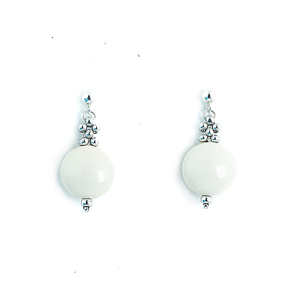 Jewelry, Earrings, Ivory, White, Sterling Silver, Swarovski, ML, Michelle Leonardo Design, Trio Single Drop Earrings