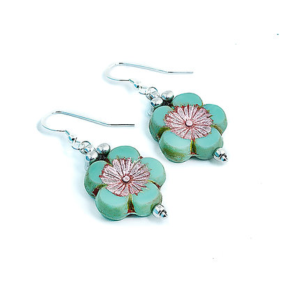 Jewelry, Earrings, Gift, Handmade, Silver, Turquoise, Sterling Silver, Hawaiian, Flower, Aloha, ML, Michelle Leonardo Design