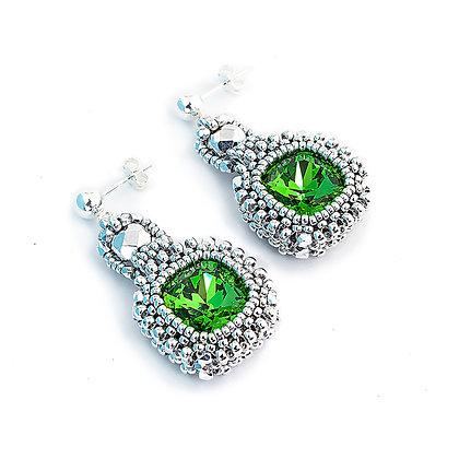 Jewelry, Earrings, Green, Emerald, Silver, Swarovski, Cushion Cut, ML, Michelle Leonardo Design, Classic Cushion Cut Earrings