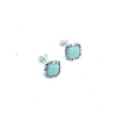 Jewelry, Earrings, Silver, Mint, Pale Green, Sparkle, Stud, ML, Michelle Leonardo Design, Stella Stud Earrings