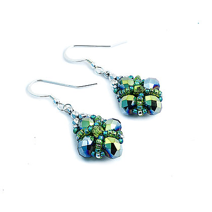 Jewelry, Earrings, Silver, Green, Leaf, Sterling Silver, ML, Michelle Leonardo Design, Trellis Earrings