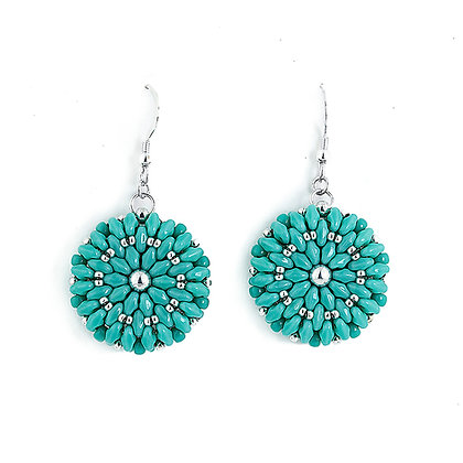Jewelry, Earrings, Gift, Turquoise, Silver, Sterling Silver, Dahlia, Flower, ML, Michelle Leonardo Design, Dahlia Earrings