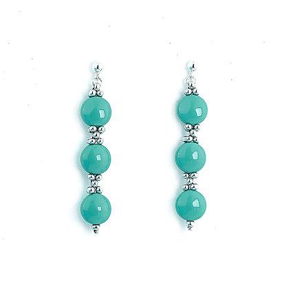Jewelry, Earrings, Silver, Jade, Green, Sterling Silver, Swarovski, ML, Michelle Leonardo Design, Trio Earrings