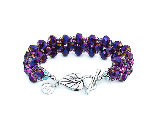 Jewelry, Bracelet, Silver, Purple, Leaf, Sterling Silver, Crystal, Sparkle, ML, Michelle Leonardo Design, Trellis Bracelet