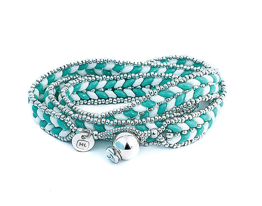 Jewelry, Wrap Bracelet, Turquoise, White, Sterling Silver, ML, Michelle Leonardo Design, ML Herringbone Wrap Bracelet