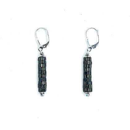 Jewelry, Earrings, Gift, Silver, Green, Sterling Silver, Sparkle, ML, Michelle Leonardo Design, Chicago Lights Earrings