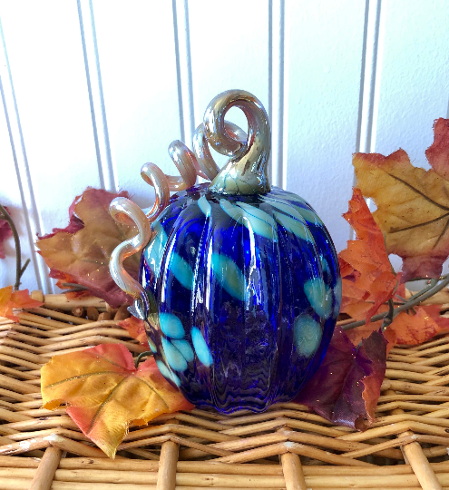 Cobalt and Gold Speckle Pumpkin