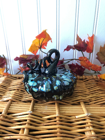 Squat Black Metallic Speckle Pumpkin