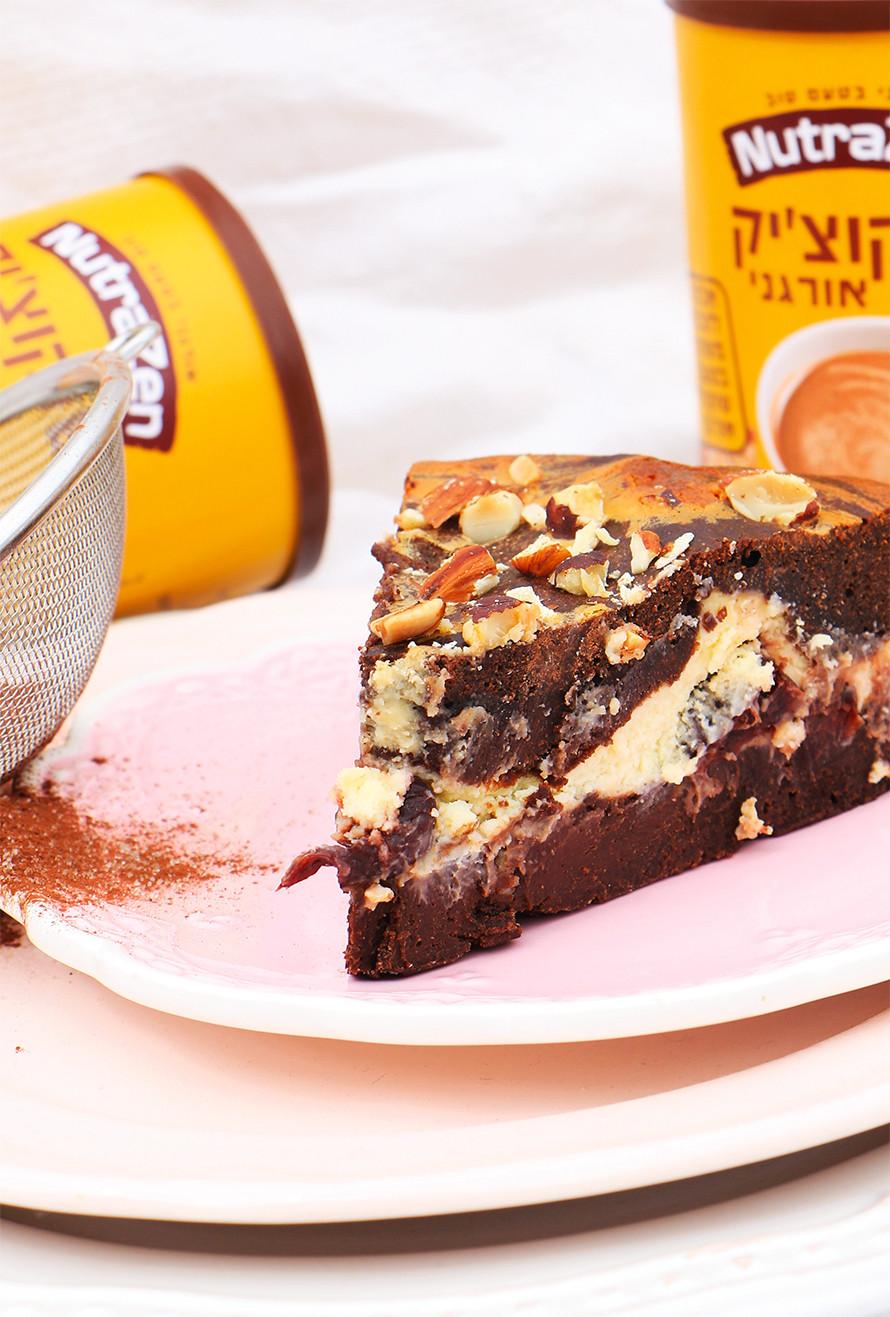 בראוניז גבינה ושוקולד לבן לשבועות