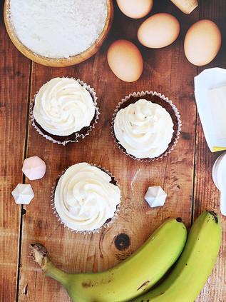 קאפקייקס בננה, דבש ושוקולד (ללא גלוטן) על בסיס קמח קוקוס