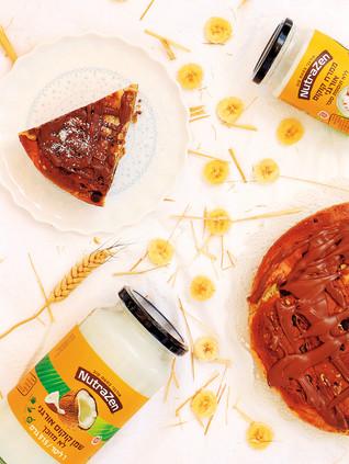 עוגת גבינה ובננה עם שוקולד צ׳יפס מקמח כוסמין