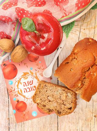 עוגת תפוחים ודבש טבעונית מקמח מלא וקמח שקדים