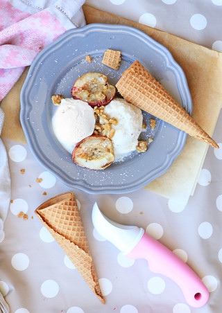 גלידת אפרסק על בסיס משקה קשיו