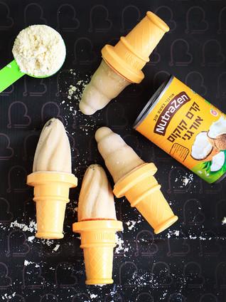 גלידת חלבון טבעונית עם קרם קוקוס