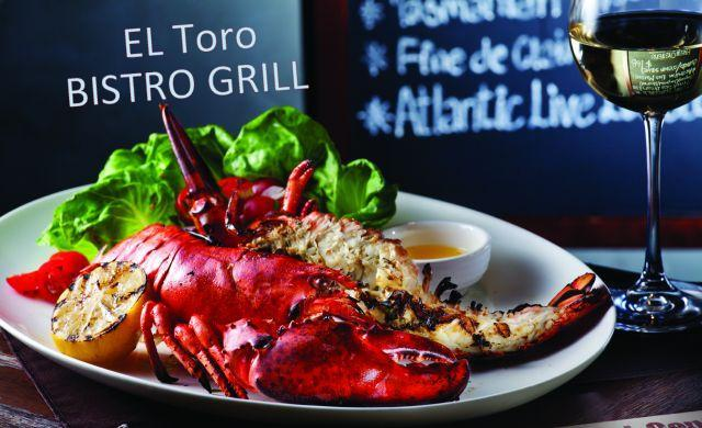 Lobster with salad and almond pesto