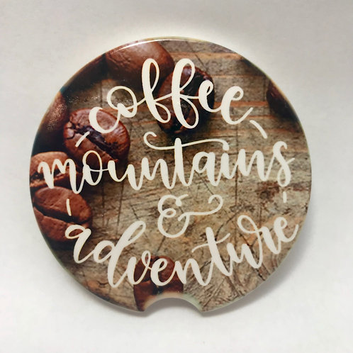 Coffee Mountains & Adventure - Car Coaster