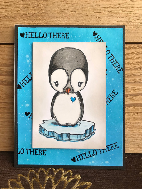 Hello There Penguin - Greeting Card
