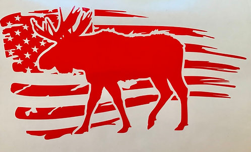 American Flag - Moose Decal