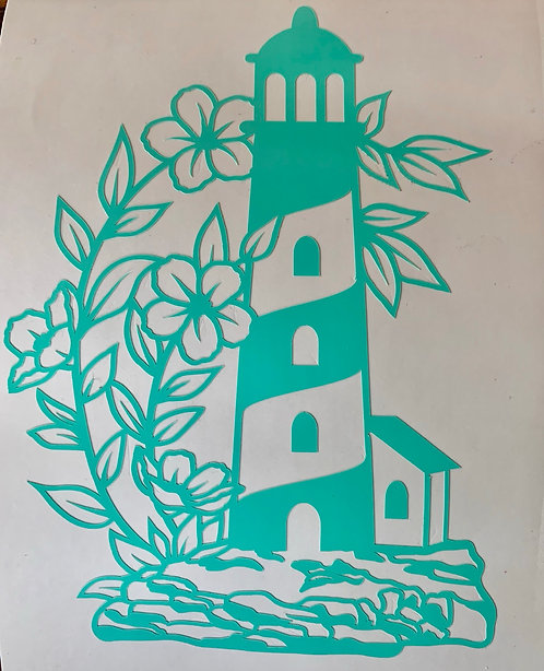 Floral Lighthouse Decal