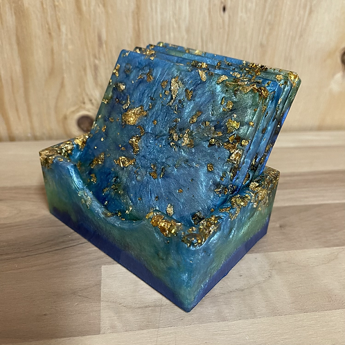 Blue/Green Square Coaster Set