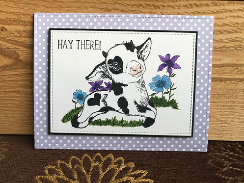 Purple Hay There - Greeting Card