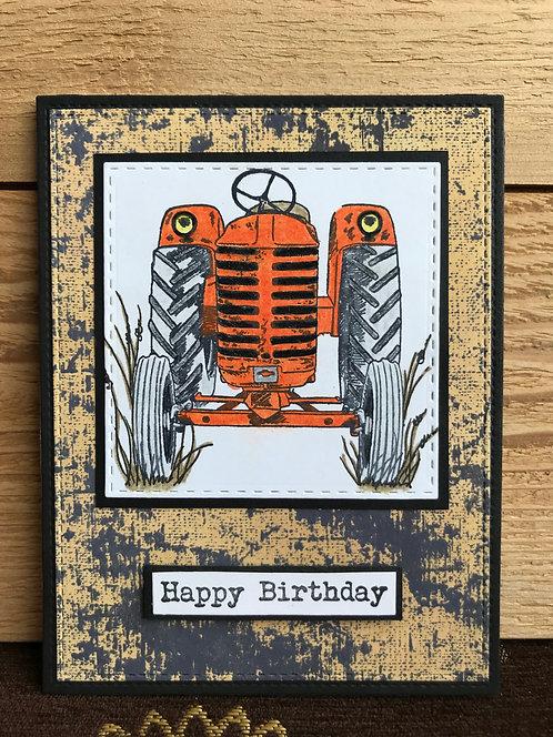 Orange Tractor - Greeting Card