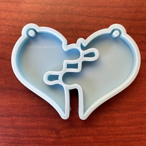 Two Piece Heart Keychain