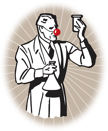 Retro Illustration of scientist with beaker. Steve Swartz Art Director, Illustrator