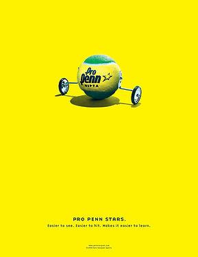 Tennis Ball with training wheel. Ad for Pro Penn Stars tennis balls. Steve Swartz Art Director, Copywriter, Frank Oros Creative Director, Peter Carter Photographer