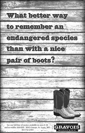 Black and white newspaper ad for Gravois Bootery promoting their exotic boots. Steve Swartz Art Director, Copywriter. Frank Oros Creative Director