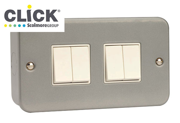 Click Scolmore Metal Clad CL019 10AX 4 Gang 2 Way Switch