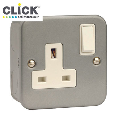 Click Scolmore Metal Clad CL035 13A DP 1 Gang Switched Socket