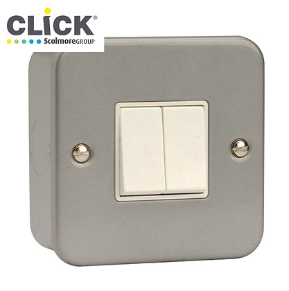 Click Scolmore Metal Clad CL012 10AX 2 Gang 2 Way Switch