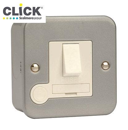Click Scolmore Metal Clad CL051 13A Switched Fuse Spur C/W Flex Outlet