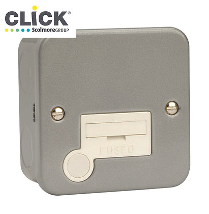 Click Scolmore Metal Clad CL050 13A Unswitched Fused Spur C/W Flex Outlet