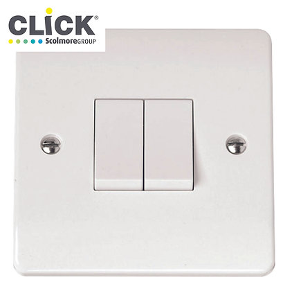 Click Scolmore Mode CMA012 10A 2 Gang 2 Way Plate Switch