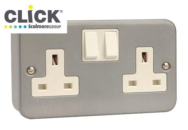Click Scolmore Metal Clad CL036 13A DP 2 Gang Switched Socket