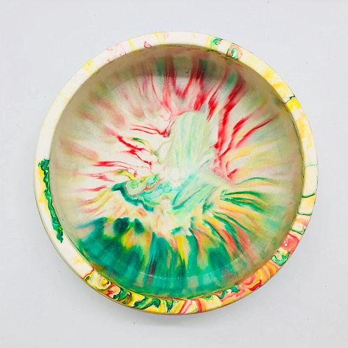 """Tutti-Frutti"" large Jesmonite marbled bowl"