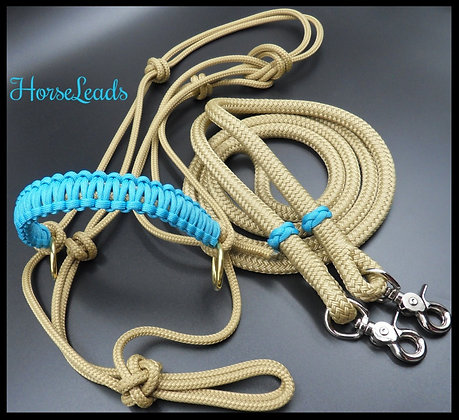 Side Pull Braided Halter and Rope Reins