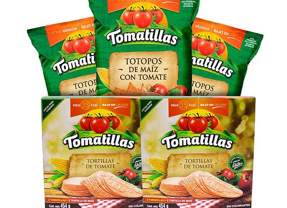 COMBO 2 paq. - Tomatillas y 3 paq.- Totopos Tomatillas